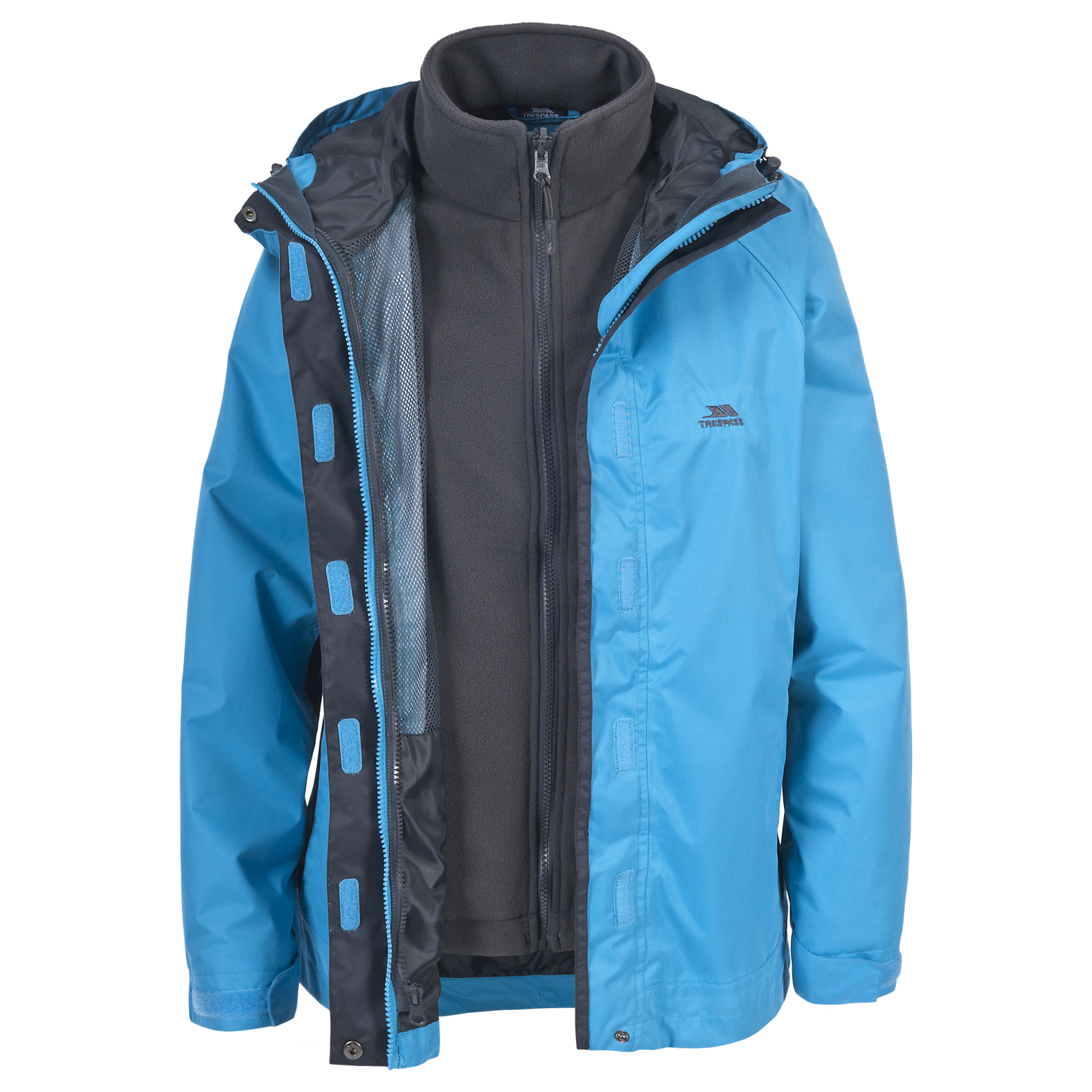 Wind and a water resistant shell for spring. 3 coats in 1 the shell jacket is a water and wind resistant technical poly and features a simple elasticized draw cord hood that is detachable along with function able multi pockets and a dual adjust draw cord hem to block out the elements.