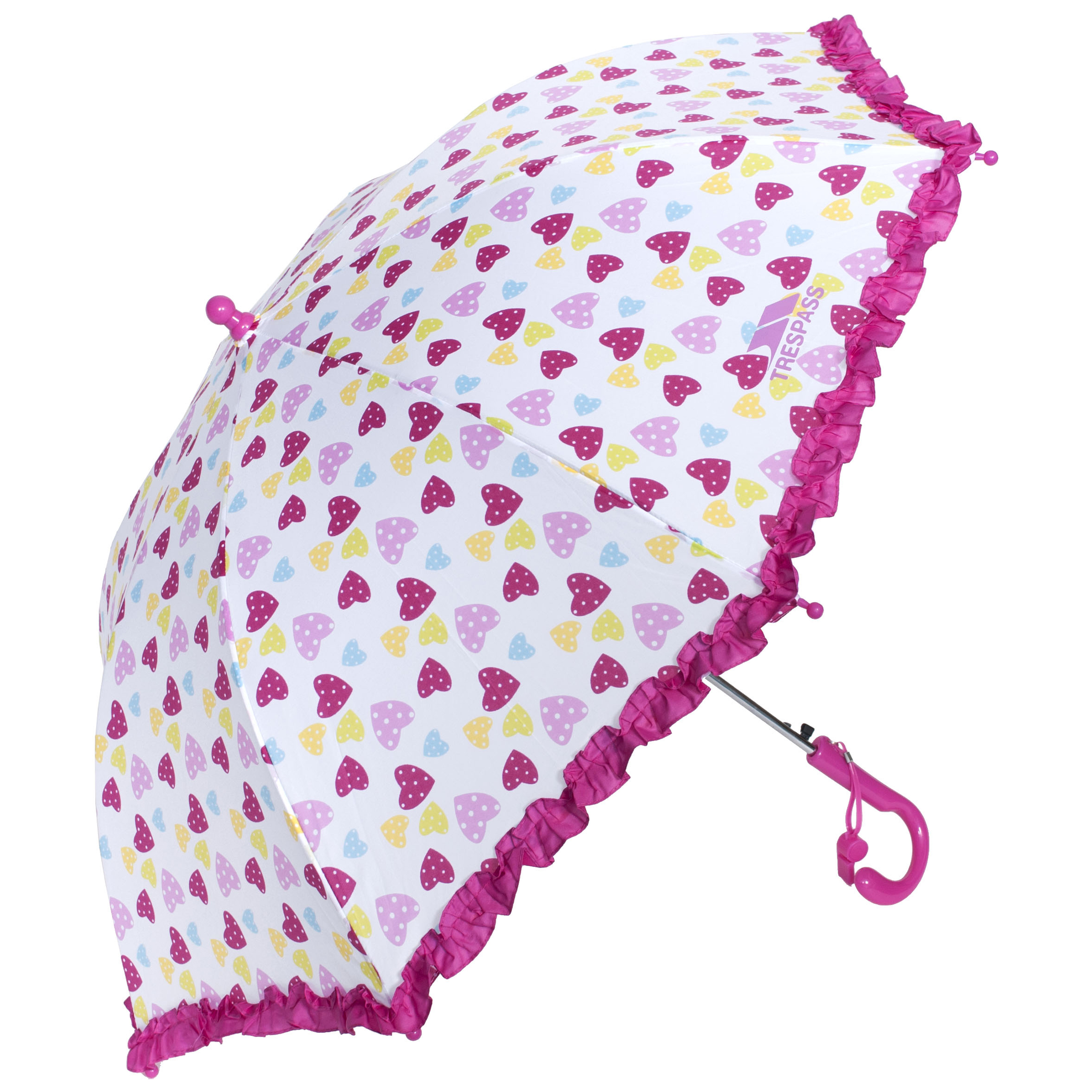 Trespass Printed Kids Umbrella With Ruffled Edges /& Whistle Attached