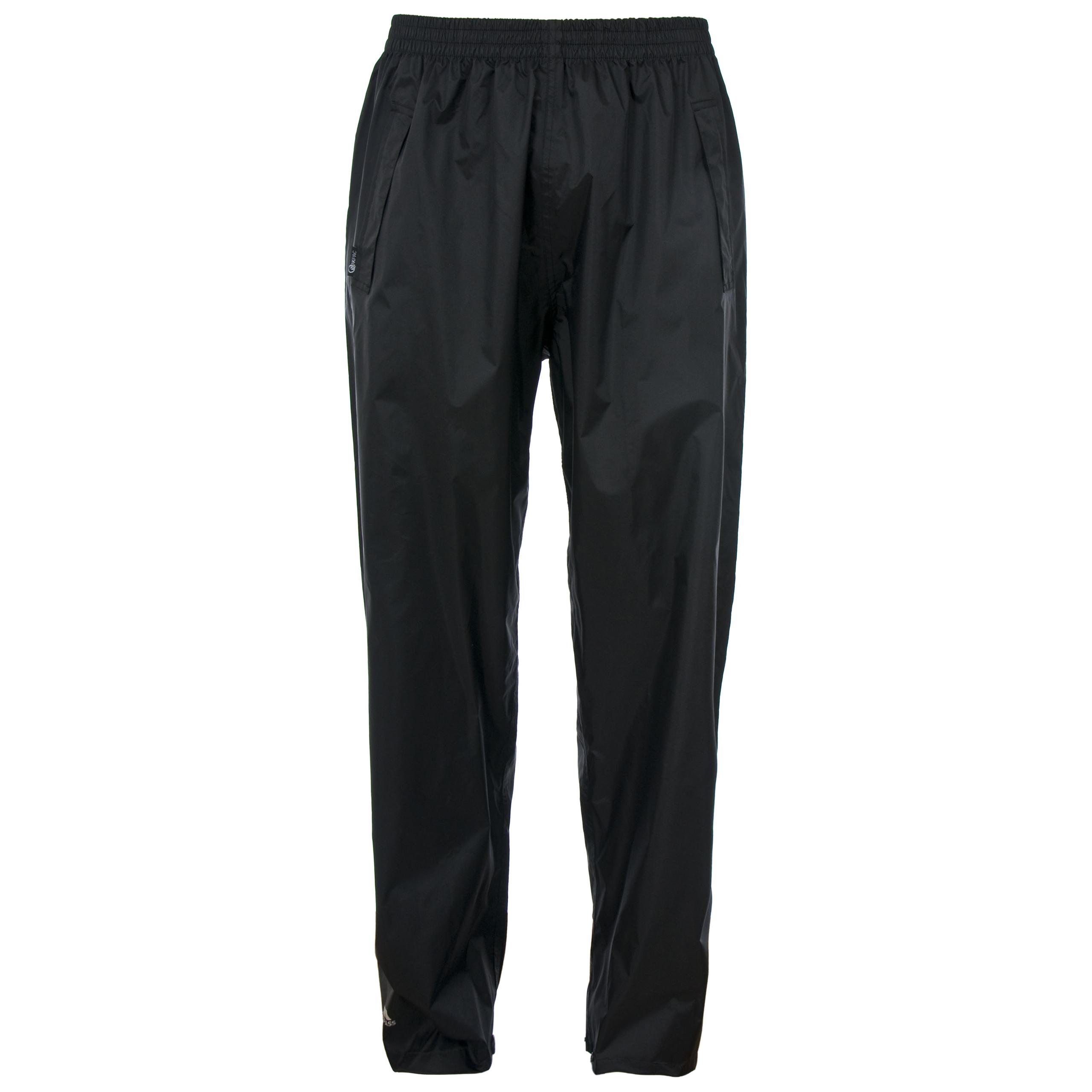 Trespass Qikpac Men Women Waterproof Trousers in Black and Navy