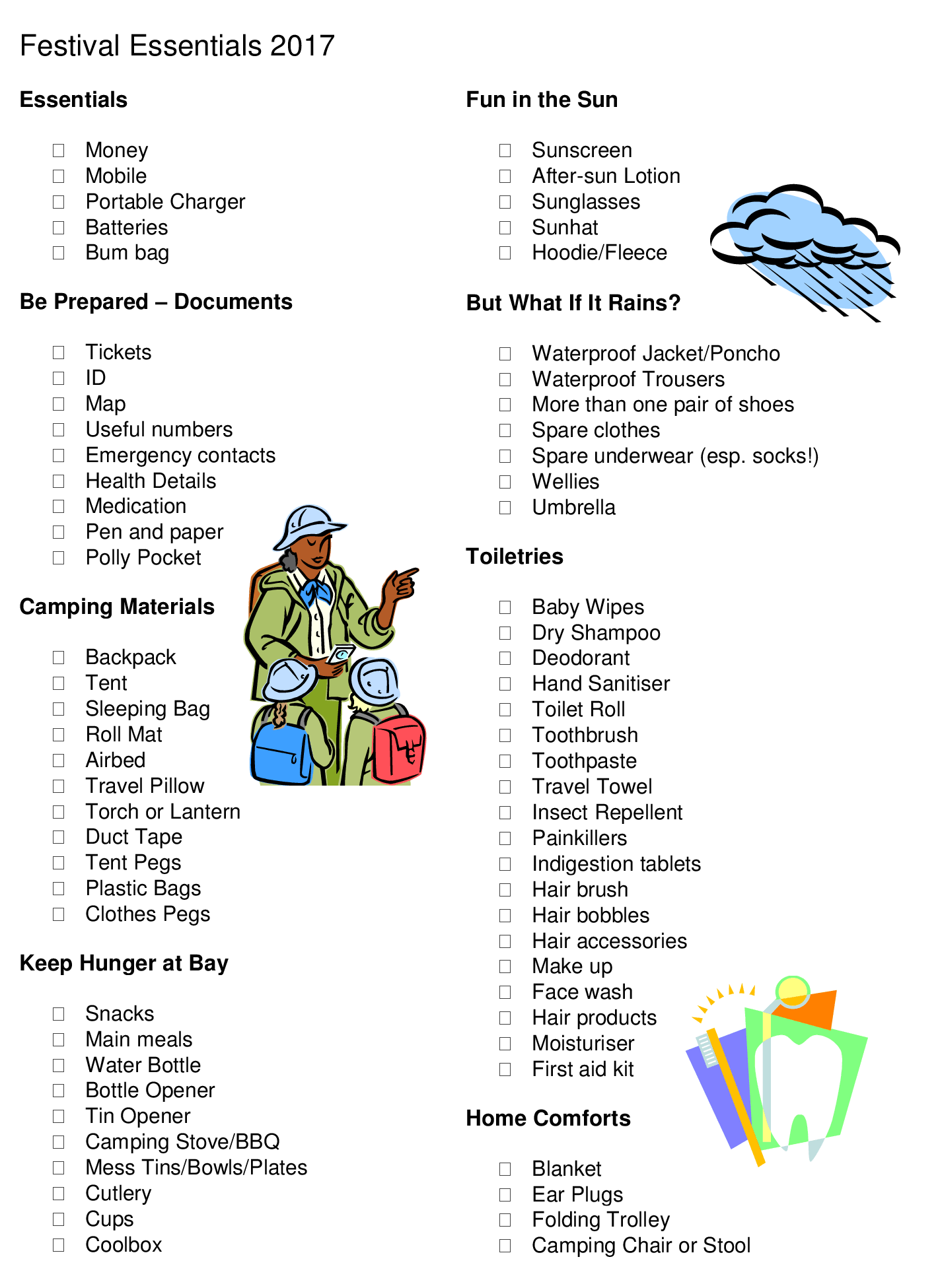 Festival Essentials Printable Checklist