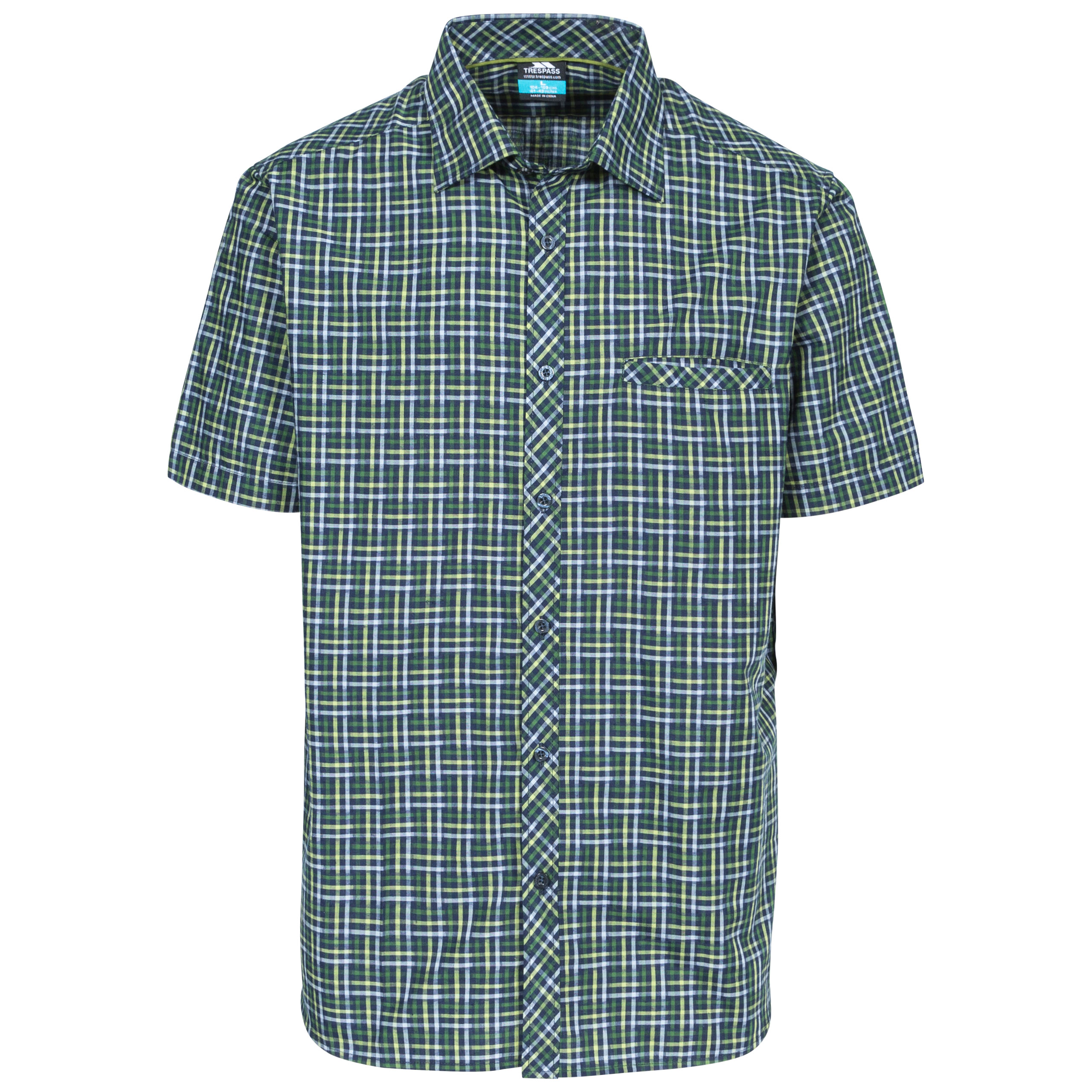 Trespass-Baffin-Mens-Short-Sleeved-Check-Shirt-Casual-T-Shirt-with-Chest-Pocket thumbnail 15