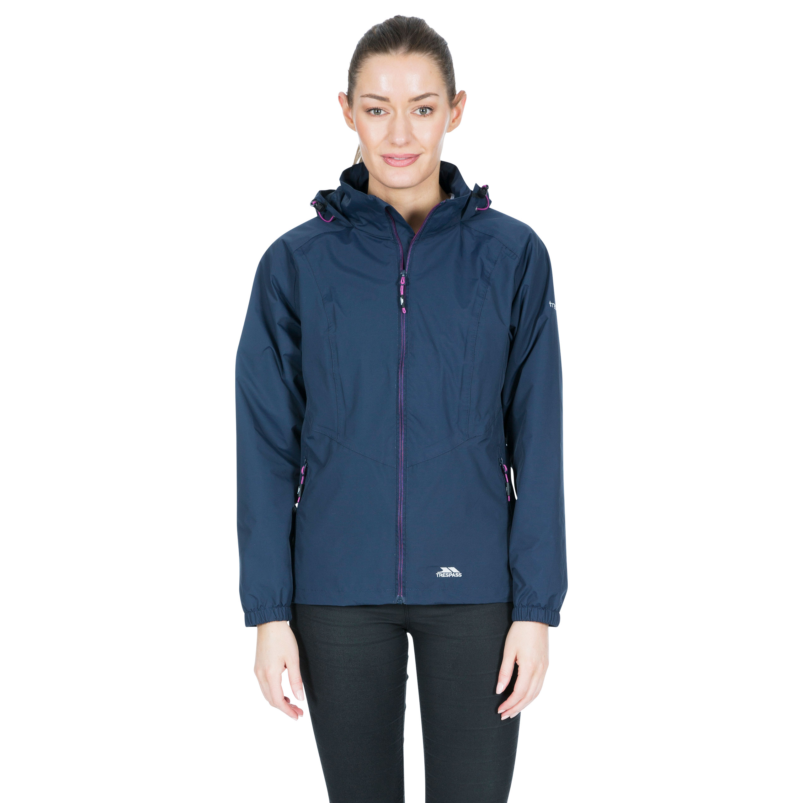 Trespass-Blyton-Womens-Waterproof-Jacket-With-Hood-in-Black-Navy-Pink-Blue thumbnail 16