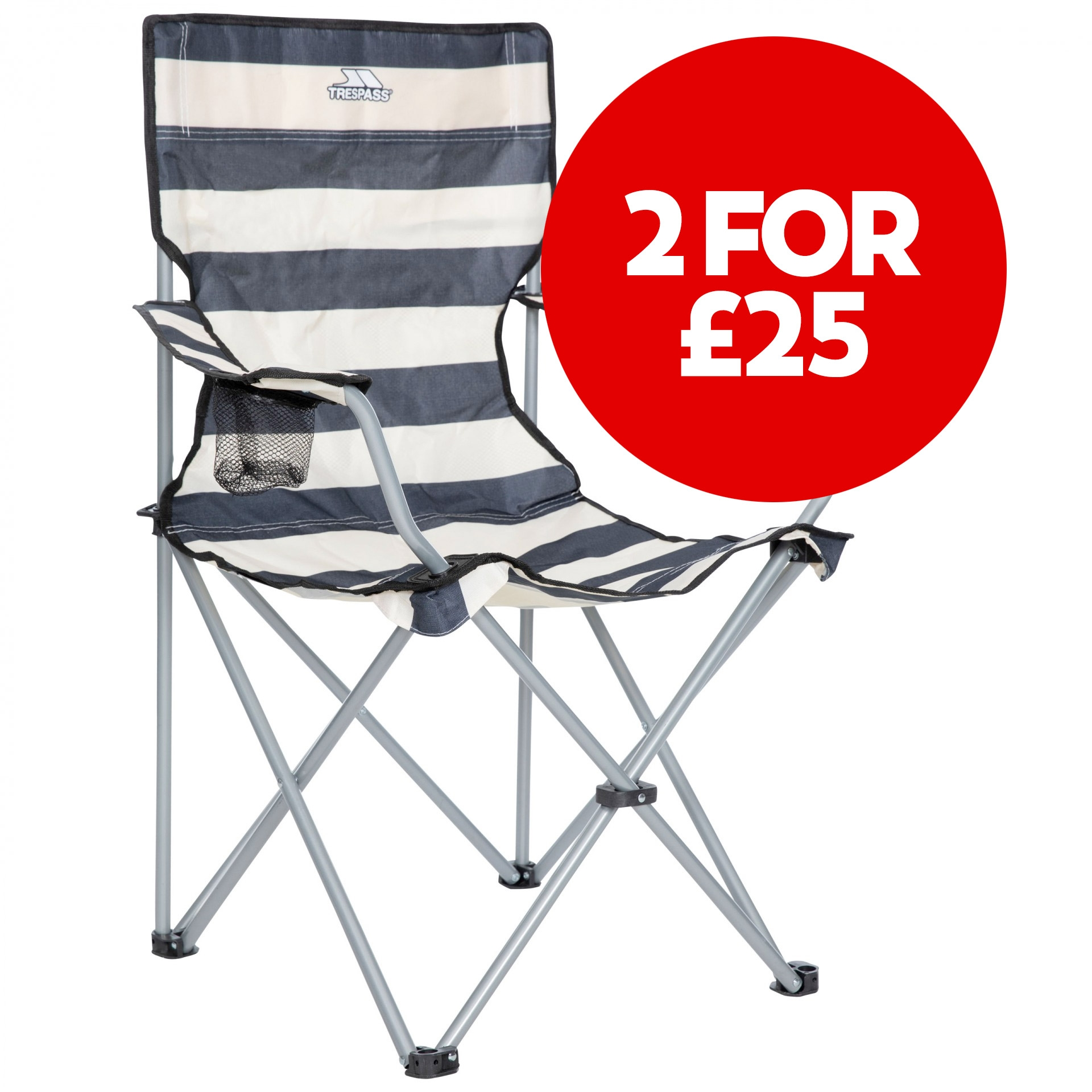Branson Navy Striped Folding Camping Chair With Drinks Holder