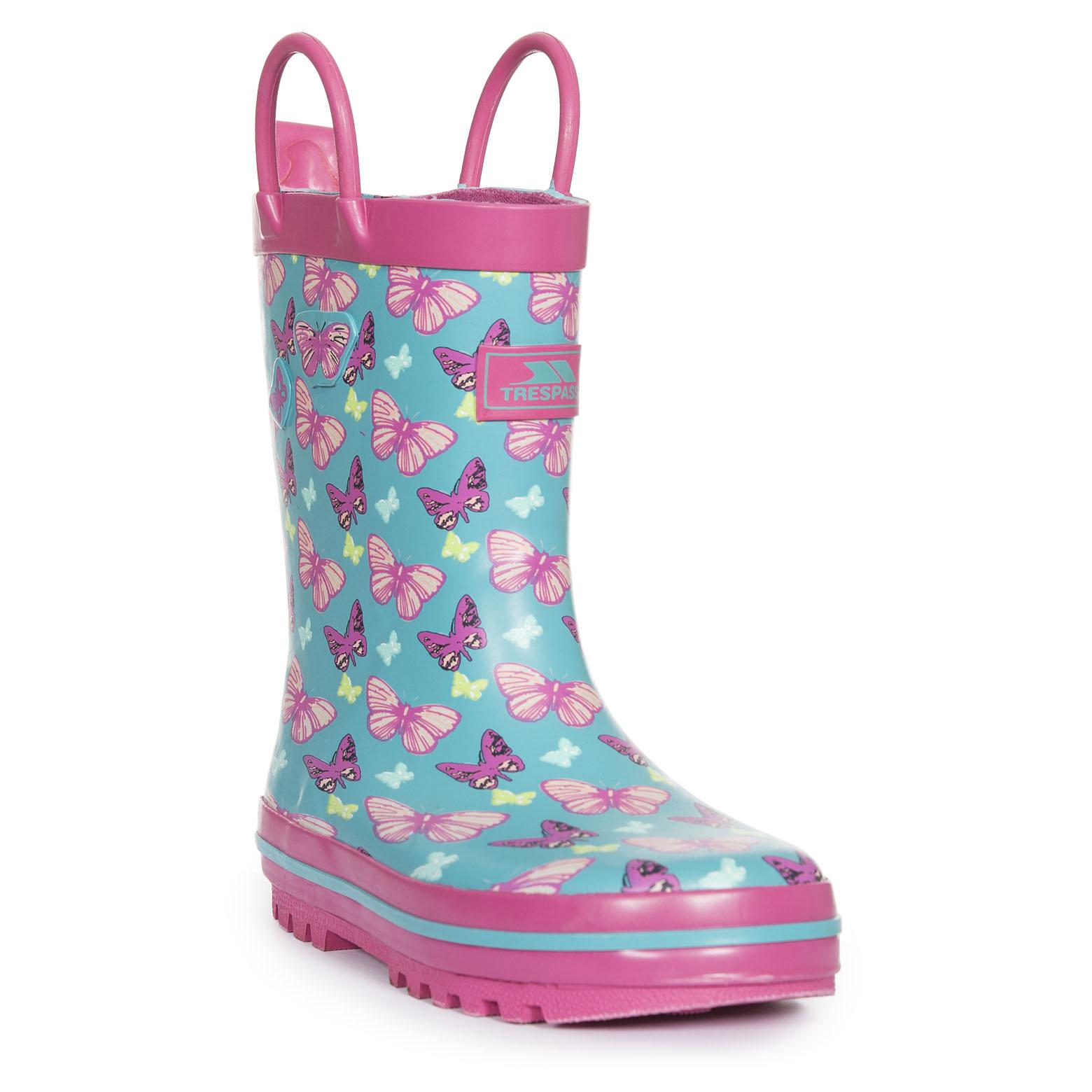Trespass Butterflie Chicas Wellington Impermeable Botas De Agua Botas de caucho para lluvia niños