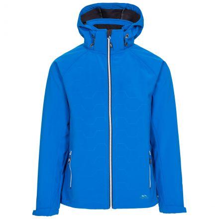Arli Men's Lightweight Softshell Jacket in Blue, Front view on mannequin