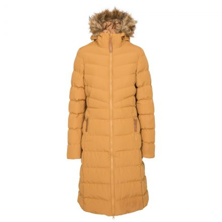 Trespass Womens Padded Jacket Casual Audrey Sandstone, Front view on mannequin