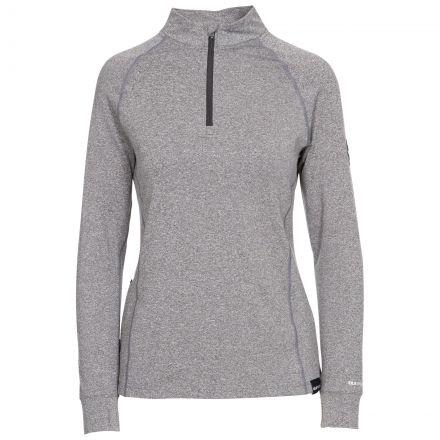 Briana Women's DLX Eco-Friendly Half Zip Active Top in Grey Marl