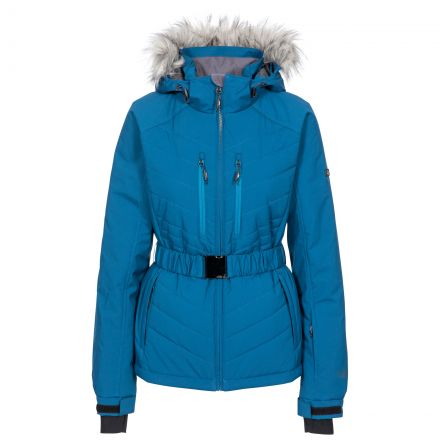 Trespass Womens Ski Jacket Waterproof Windproof Camila Blue, Front view on mannequin