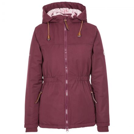Trespass Womens Padded Jacket Fleece Lined Cassini Fig, Front view on mannequin