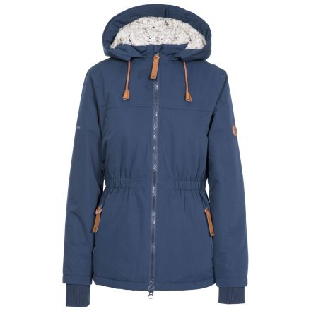 Trespass Womens Padded Jacket Fleece Lined Cassini Navy, Front view on mannequin
