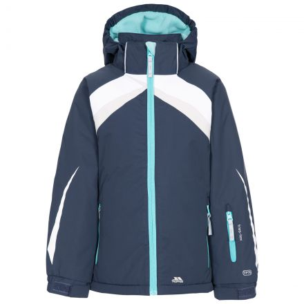 Trespass Kids Padded Ski Jacket Detachable Hood Distinct in Navy