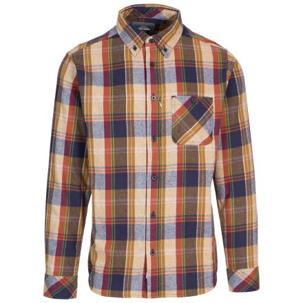 Trespass Men's Checked Shirt Hidden Zip Pocket Parkfordley Brown