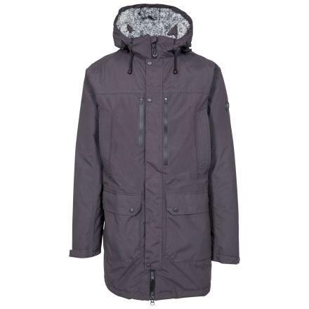 Quaintonring Men's Padded Waterproof Jacket in Dark Grey, Front view on mannequin