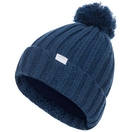 Alisha Women's Knitted Bobble Hat in Blue