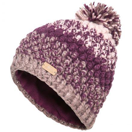 Alver Women's Hand Knitted Bobble Hat in Purple