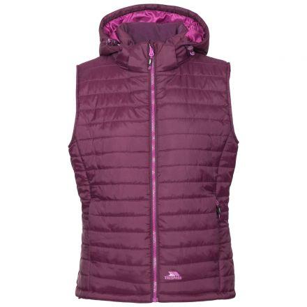 Aretha Women's Hooded Padded Gilet in Purple