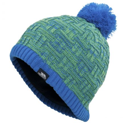 BENTON Knitted Pom Pom Beanie Hat in Blue