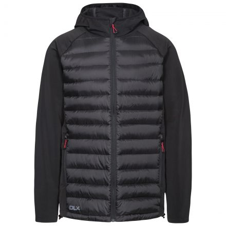 Cade Men's DLX Hooded Down Jacket in Black, Front view on mannequin
