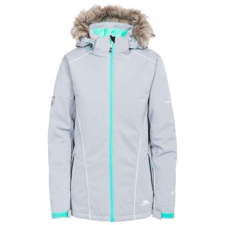 Trespass Womens Ski Jacket Waterproof Caitly in Platinum