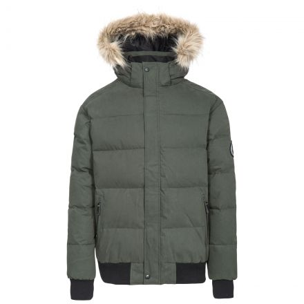 Calgary Men's DLX Hooded Down Jacket in Khaki