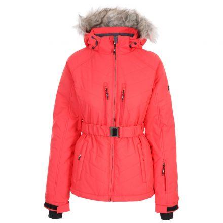 Trespass Womens Ski Jacket Waterproof Windproof Camila Hibiscus, Front view on mannequin
