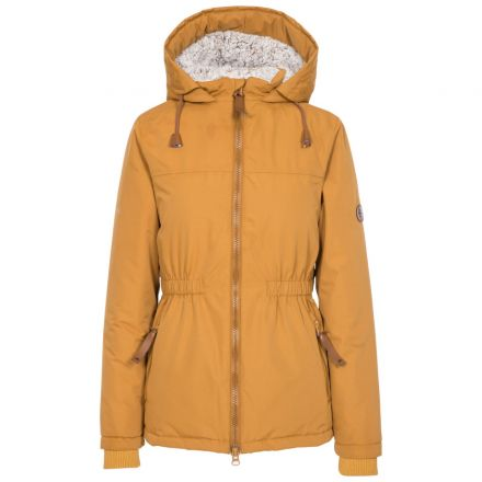 Trespass Womens Padded Jacket Fleece Lined Cassini Yellow, Front view on mannequin