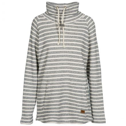 Cheery Women's Striped Pull Over Hoodie in Navy