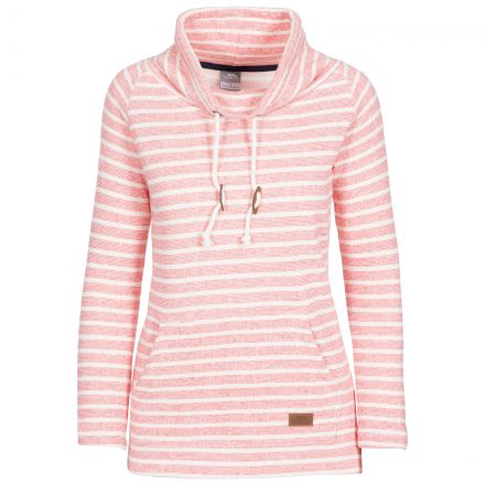 Cheery Women's Striped Pull Over Hoodie in Peach