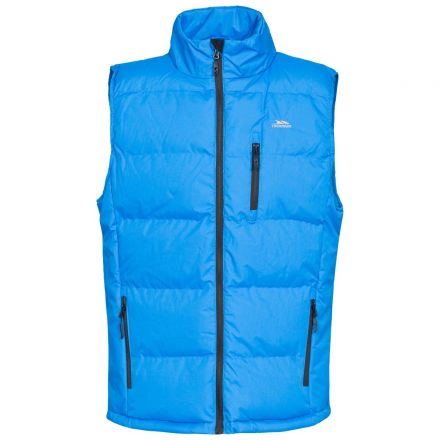 Clasp Men's Padded Gilet in Blue, Front view on mannequin