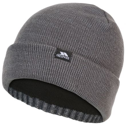 Trespass Adults Beanie Hat Reflective Double Layer Crackle Grey