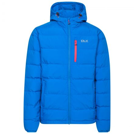 Crane Men's DLX Hooded Down Jacket in Blue, Front view on mannequin