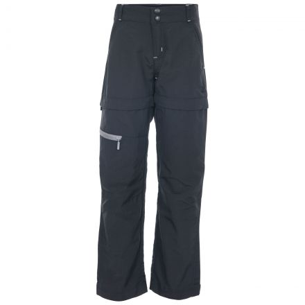 Defender Kids' Convertible Walking Trousers in Black, Front view on mannequin
