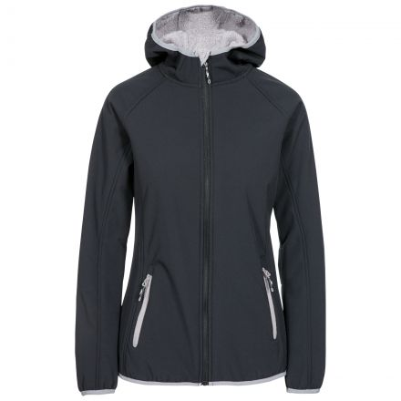 Emery Women's Hooded Softshell Jacket in Black