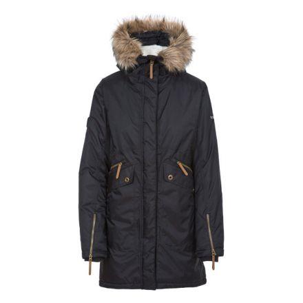 Trespass Womens Waterproof Parka Jacket Eternally Black, Front view on mannequin
