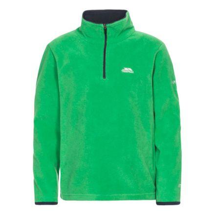Etto Kids' Half Zip Fleece in Green, Front view on mannequin