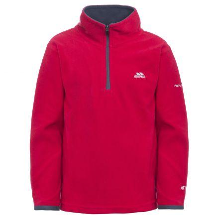 Etto Kids' Half Zip Fleece in Red, Front view on mannequin