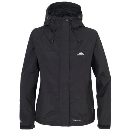 Trespass Womens Waterproof Jacket Hooded Miyake in Black