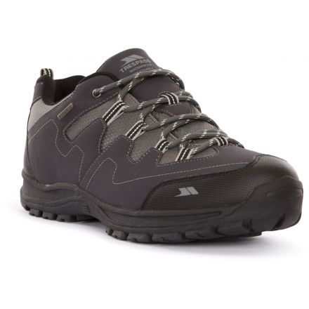 Trespass  Men's Walking Trainer Finley Graphite, Angled view of footwear