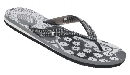 FLEUR Women's Beaded Flip Flops in Black