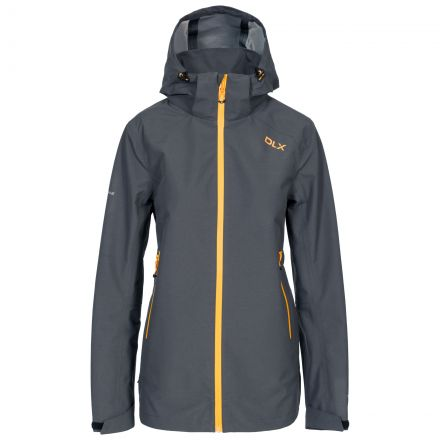 DLX Womens Waterproof Jacket with Hood Gayle in Grey, Front view on mannequin