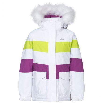Hawser Girls' Ski Jacket in White, Front view on mannequin