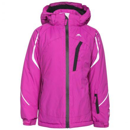 Jala Girls' Ski Jacket in Purple, Front view on mannequin