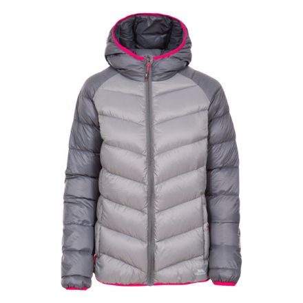 Trespass Womens Down Jacket Hooded Kirstin in Storm Grey