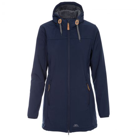 Trespass Womens Softshell Jacket Long Hooded Kristen in Navy