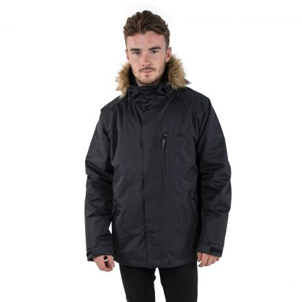 Leo Men's Insulated Waterproof 3-in-1 Jacket with Inner Padded Jacket in Black