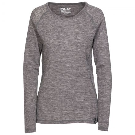 Libra Women's DLX Long Sleeve Thermal T-Shirt in Grey, Front view on mannequin