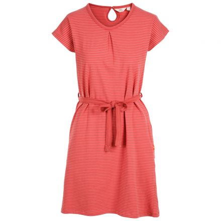 Trespass Womens Round Neck Cotton Dress Lidia Rhubarb Stripe