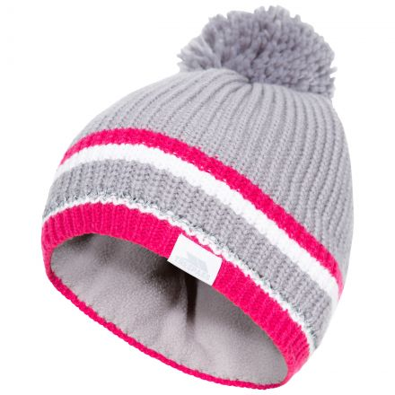 Lit Kids' Bobble Hat in Grey, Hat at angled view