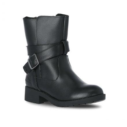 Louiza Girls' Leather School Shoes in Black