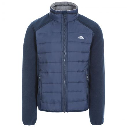 Ludvig Kids' Padded Fleece Jacket in Navy, Front view on mannequin